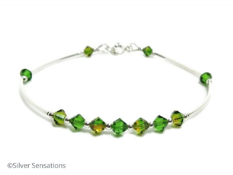 Green & Yellow Swarovski Crystals Elegant Sterling Silver Bangle Bracelet